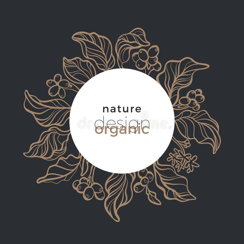 Vector organic symbol in circle. Nature floral bio design. Coffee tree. Graphic bouquet royalty free illustration