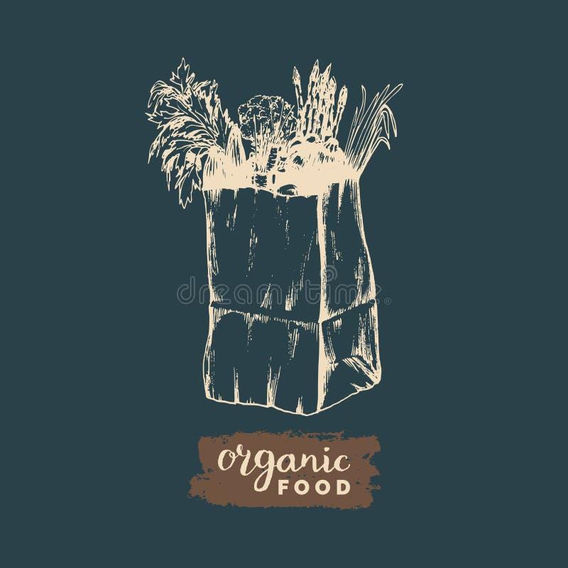 Vector organische groentenaffiche, logotype De productenillustratie van landbouwbedrijf verse eco De hand schetste document zak m stock illustratie
