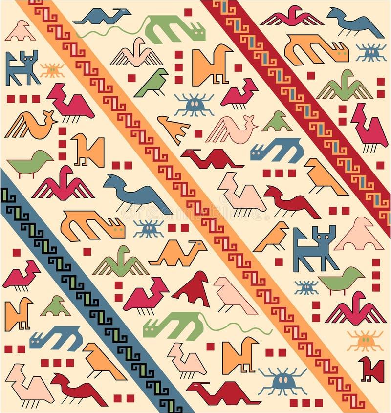 Vector oriental de la alfombra de los animales geométricos stock de ilustración