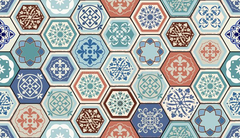 Vector Oriental seamless pattern. Realistic Vintage Moroccan, Portuguese hexagonal tiles. royalty free illustration