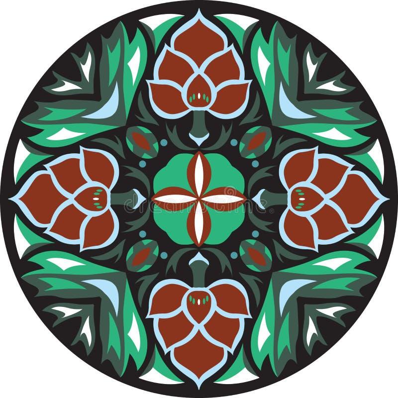 Vector orientalisches traditionelles Lotosblumen-Goldfischrundschreibenmuster lizenzfreie abbildung