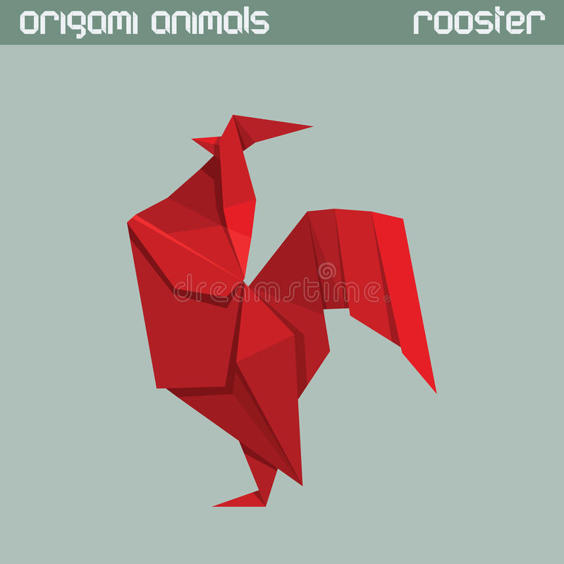 Vector origami animal. Rooster. Vector origami animal. Red triangle Rooster royalty free illustration