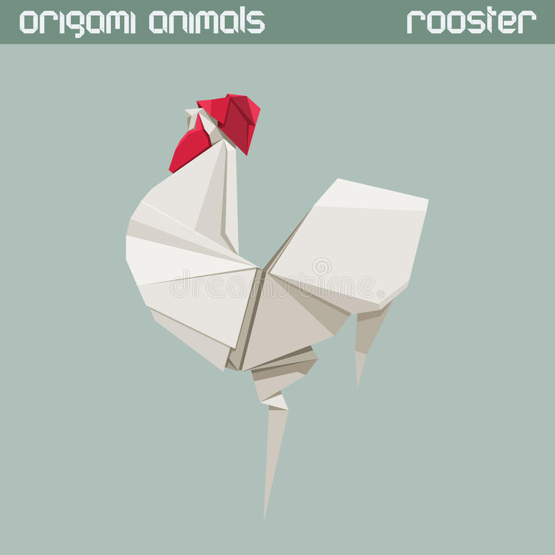 Vector origami animal. Rooster. vector illustration