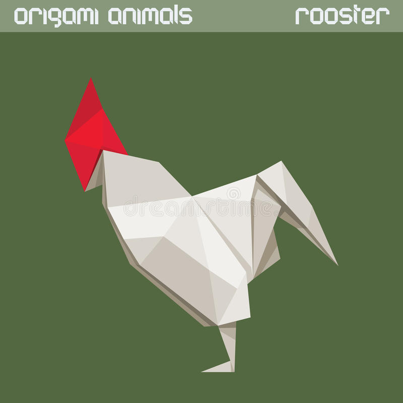 Vector origami animal. Rooster. Vector origami animal. White triangle Rooster stock illustration