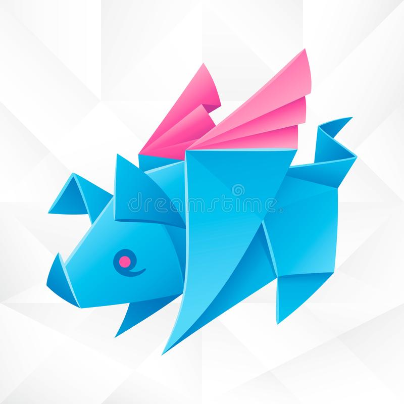 Vector Origami Blue Flying Pig. Geometric Icon of Paper Piglet with Wings on White Background. Abstract Symbol of Animal for Stickers, Emblem or Chinese New stock illustration