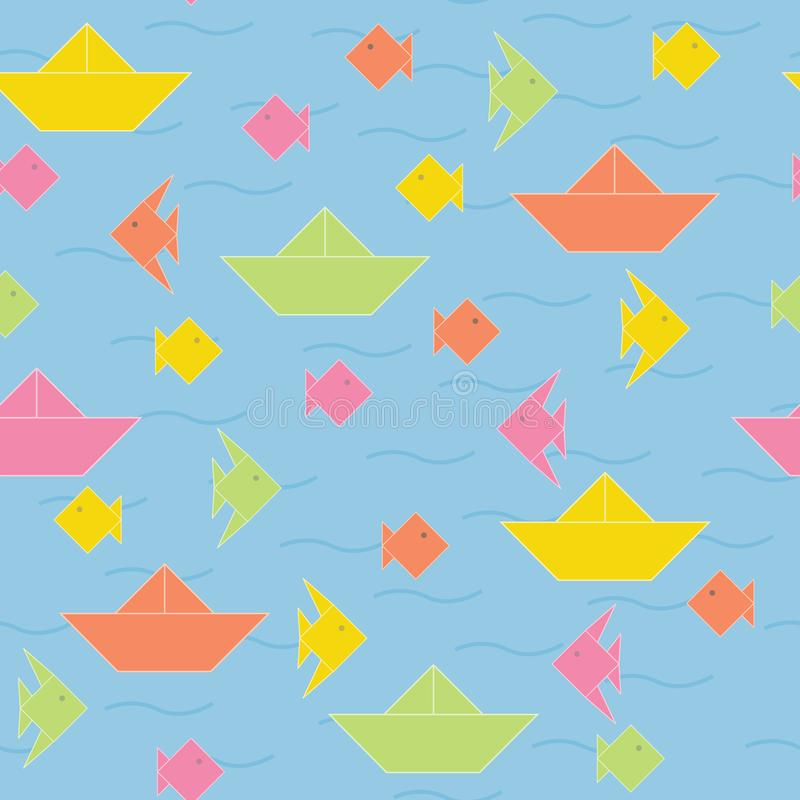 Vector Origami Boats and Fish in Orange Pink Green Yellow Seamless Repeat Pattern. For Surface Design royalty free illustration
