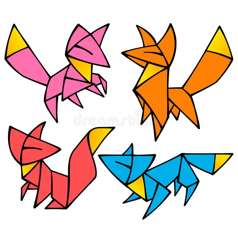 Vector origami cute Fox set stock illustration