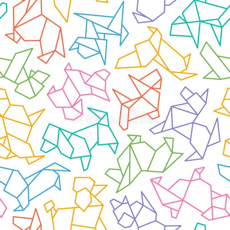 Vector Origami Dog Seamless Background stock illustration