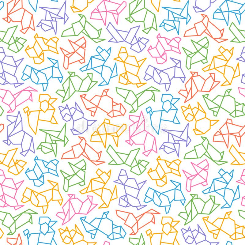 Vector Origami Dog Seamless Background stock illustration