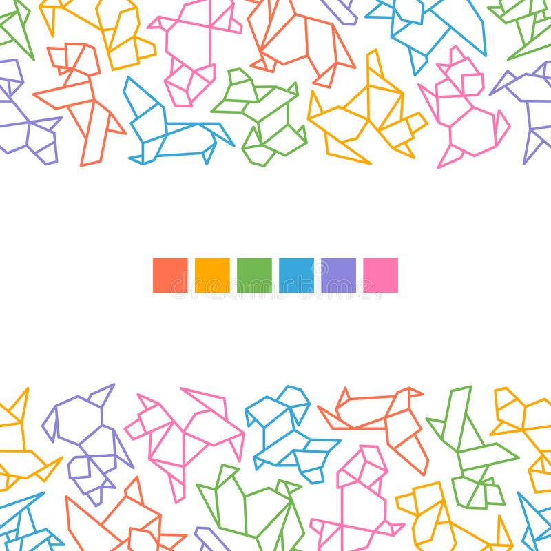 Vector Origami Dogs Frame royalty free illustration
