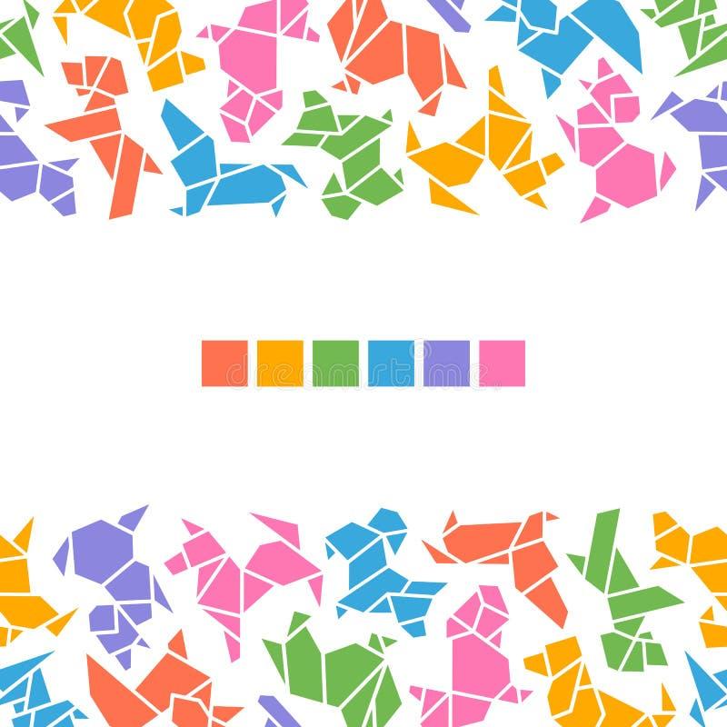 Vector Origami Dogs Frame stock illustration