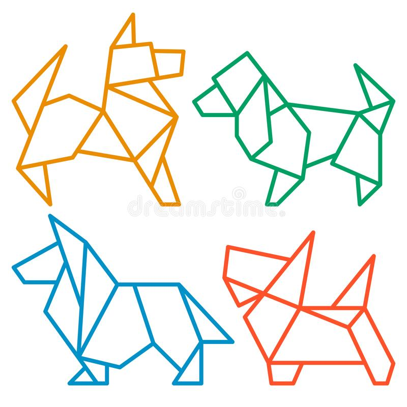Origami Dogs Icon Set 3. Vector Origami Dogs Icon Set. Abstract Low Poly Pet Dog Breed Sign Silhouette Isolated on White. Freehand Drawn Paper Folding Art Emblem vector illustration