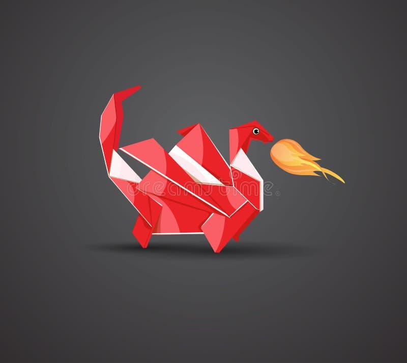Vector origami dragon vector illustration
