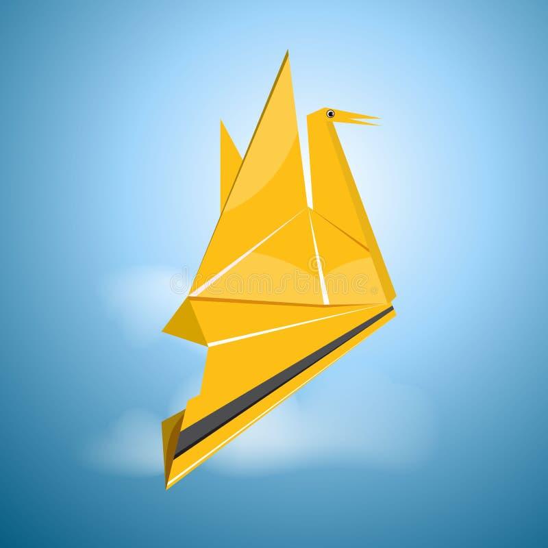 Vector origami flying bird royalty free illustration