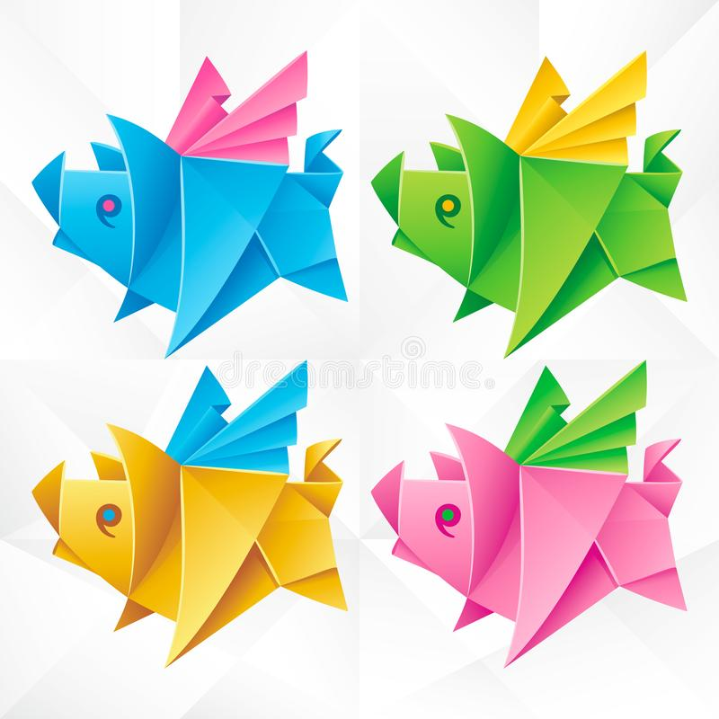 Vector Origami Flying Pig Set. Geometric Icons of Paper Piglet with Wings on White Background. Abstract Symbols of Animal for Stickers, Emblem or Chinese New royalty free illustration