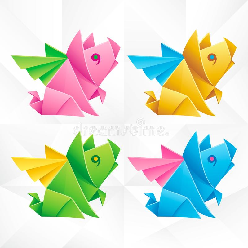 Vector Origami Flying Pig Set. Geometric Icons of Paper Piglet with Wings on White Background. Abstract Symbols of Animal for Stickers, Emblem or Chinese New vector illustration