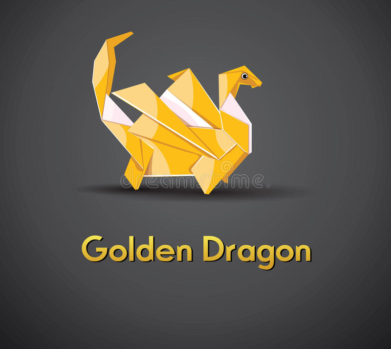 Vector origami golden dragon 2012 stock illustration