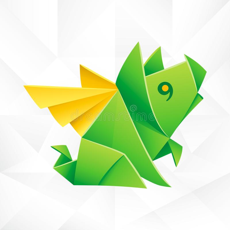 Vector Origami Green Flying Pig. Geometric Icon of Paper Piglet with Wings on White Background. Abstract Symbol of Animal for Stickers, Emblem or Chinese New stock illustration