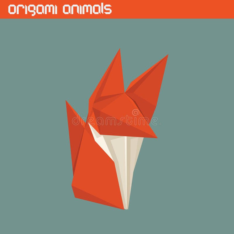Vector origami isolated animal. Cute Fox. Vector origami isolated animal. Cute triangle Fox royalty free illustration