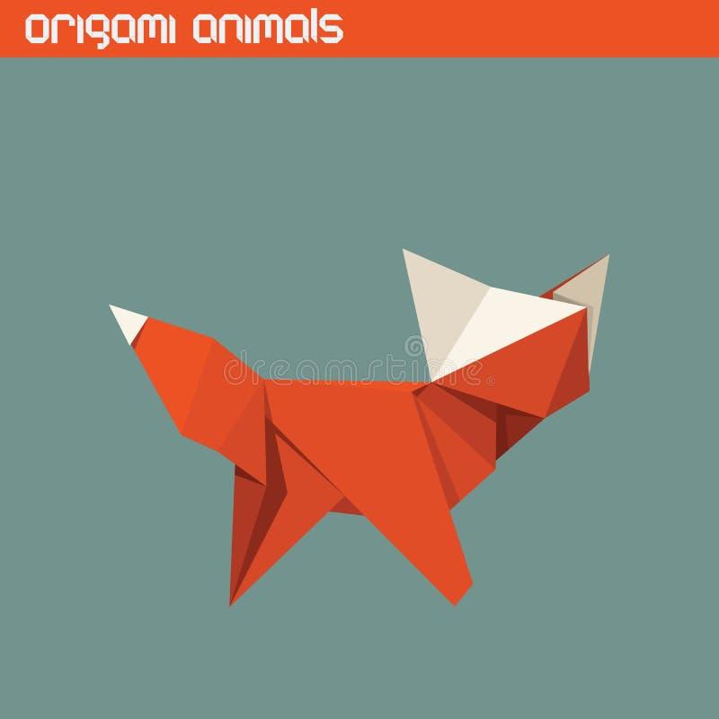 Vector origami isolated animal. Cute Fox royalty free illustration