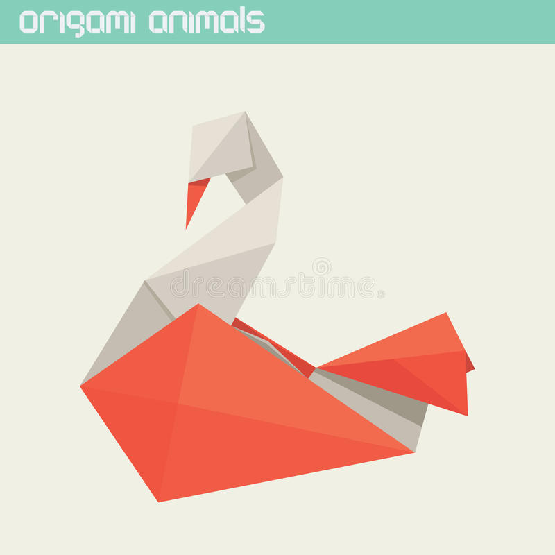 Vector origami isolated animal. Cute Swan vector illustration