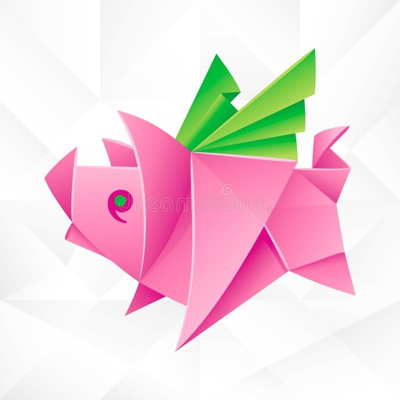 Vector Origami Pink Flying Pig. Geometric Icon of Paper Piglet with Wings on White Background. Abstract Symbol of Animal for Stickers, Emblem or Chinese New royalty free illustration