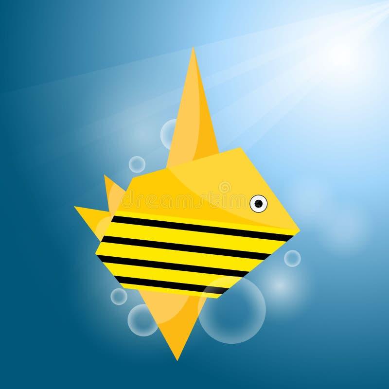 Vector origami stripe fish vector illustration