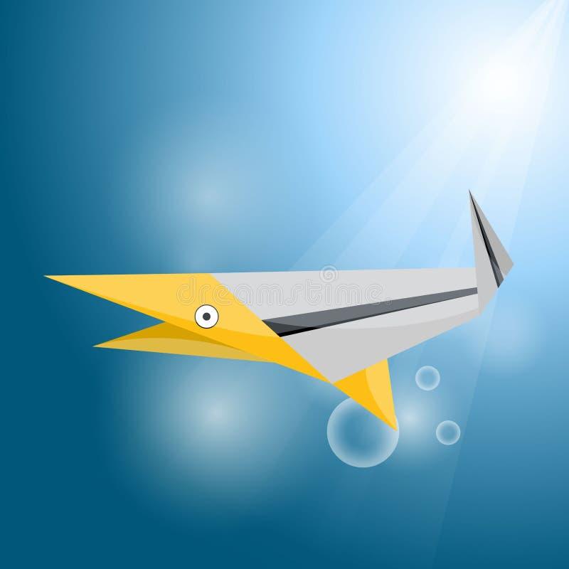 Vector origami stripe shark royalty free illustration