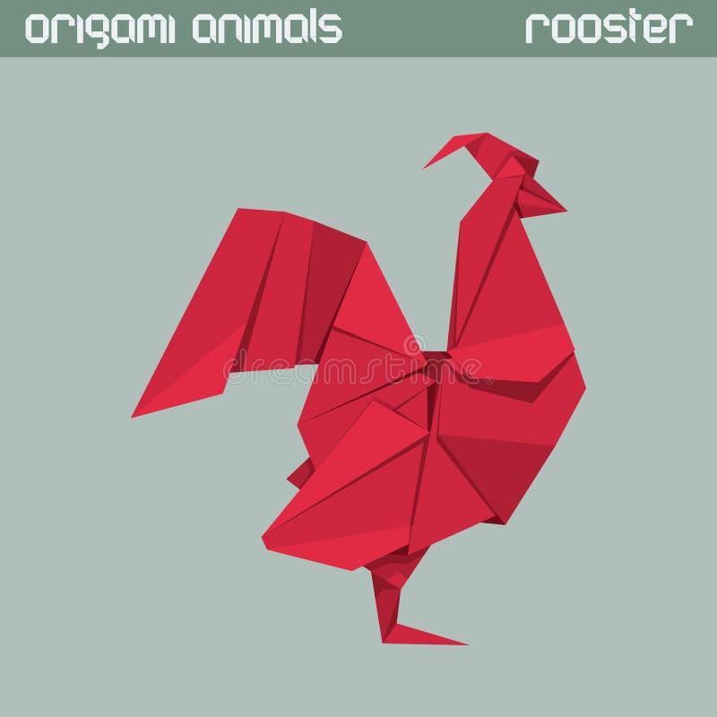 Vector origami Tier Hahn vektor abbildung