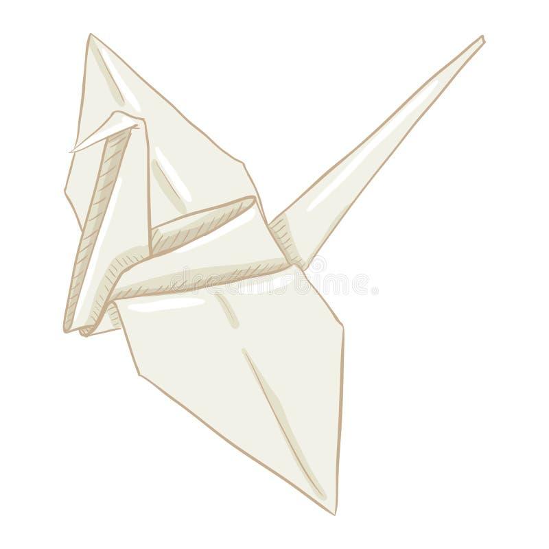Vector Origami White Paper Crane vector illustration