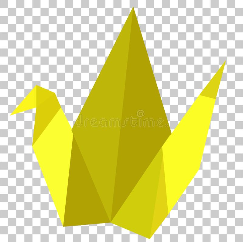 Origami, Yellow Bird, at Transparent Effect Background. Vector Origami, Yellow Bird, at Transparent Effect Background stock illustration