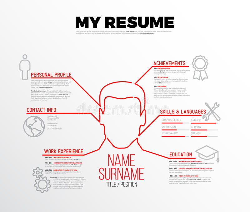 Vector original minimalist cv / resume template royalty free illustration