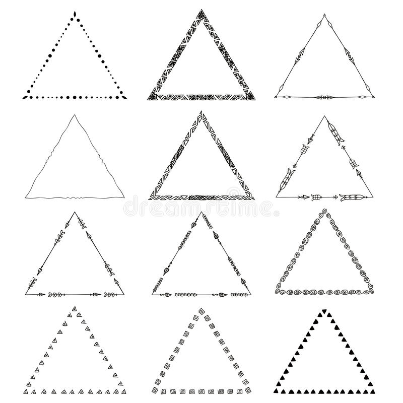 Vector Originele Geplaatste tekenings stammendriehoeken royalty-vrije illustratie