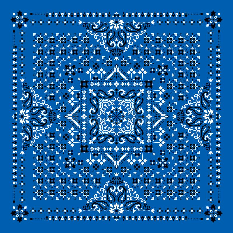Vector ornament Bandana Print. Traditional ornamental ethnic pattern with paisley and flowers. Silk neck scarf or kerchief square royalty free stock images