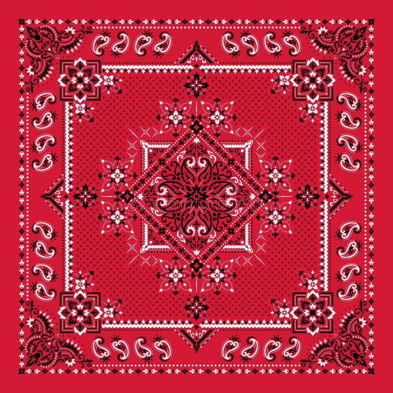 Vector ornament Bandana Print. Traditional ornamental ethnic pattern with paisley and flowers. Silk neck scarf or kerchief square royalty free stock image