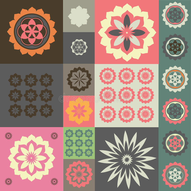 Vector Ornament From Different Flower Symbols Royalty Free Stock Photo