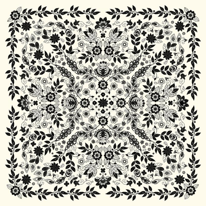 Vector ornament Embroidery floral Bandana Print, silk neck scarf or kerchief square pattern design style for print on vector illustration