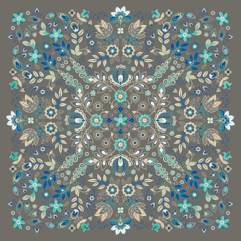 Vector ornament Embroidery floral Bandana Print, silk neck scarf or kerchief square pattern design style for print on stock illustration