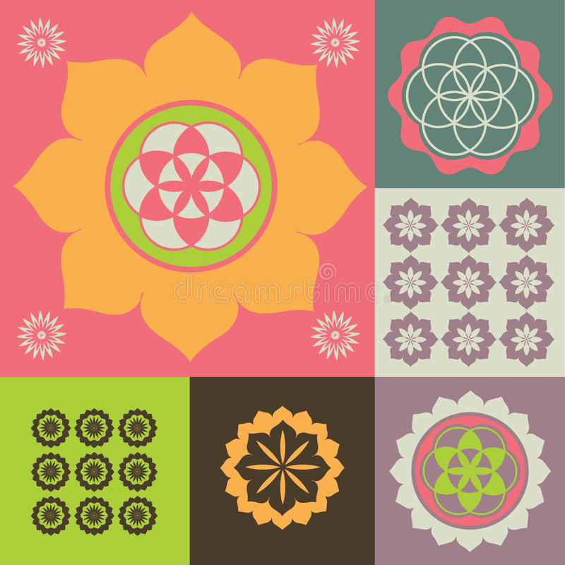Vector Ornament From Lotus Flower Symbols Stock Photography