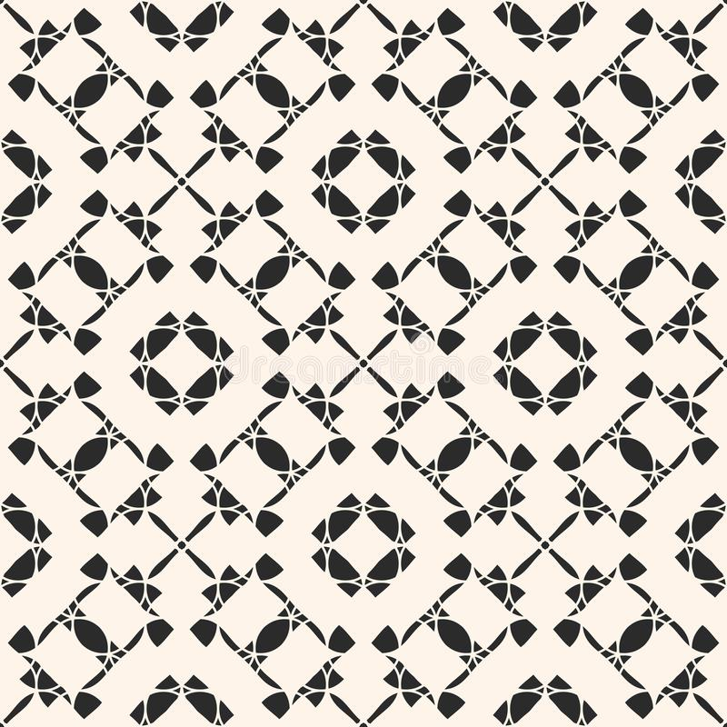 Vector ornament seamless pattern. Black and white repeat geometric background. stock illustration