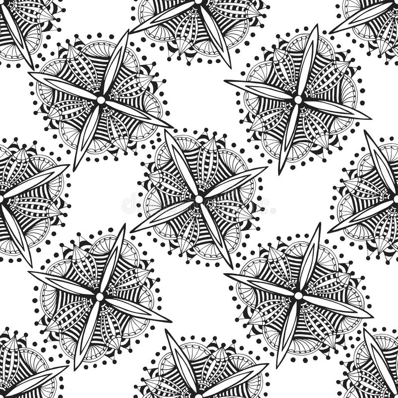 Vector ornamental background with zentangle flowers. royalty free illustration