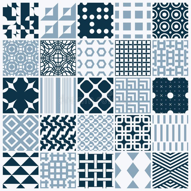 Vector ornamental black and white seamless backdrops set, geometric patterns collection. Ornate textures made in modern simple st. Yle stock illustration