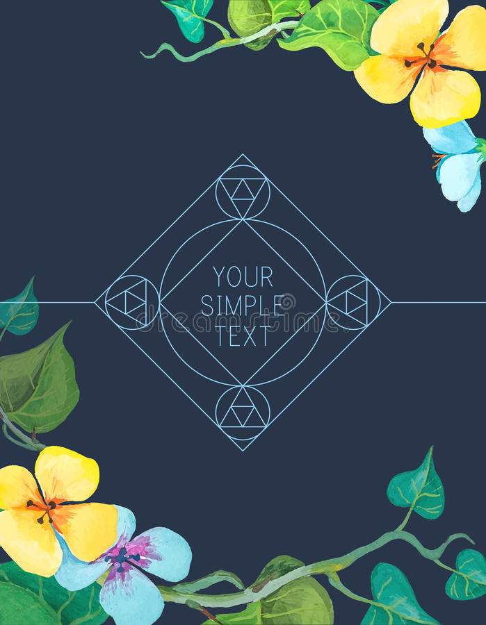 Vector ornamental logo design templates in outline style - abstract monograms and emblems. Vector watercolor floral background stock illustration