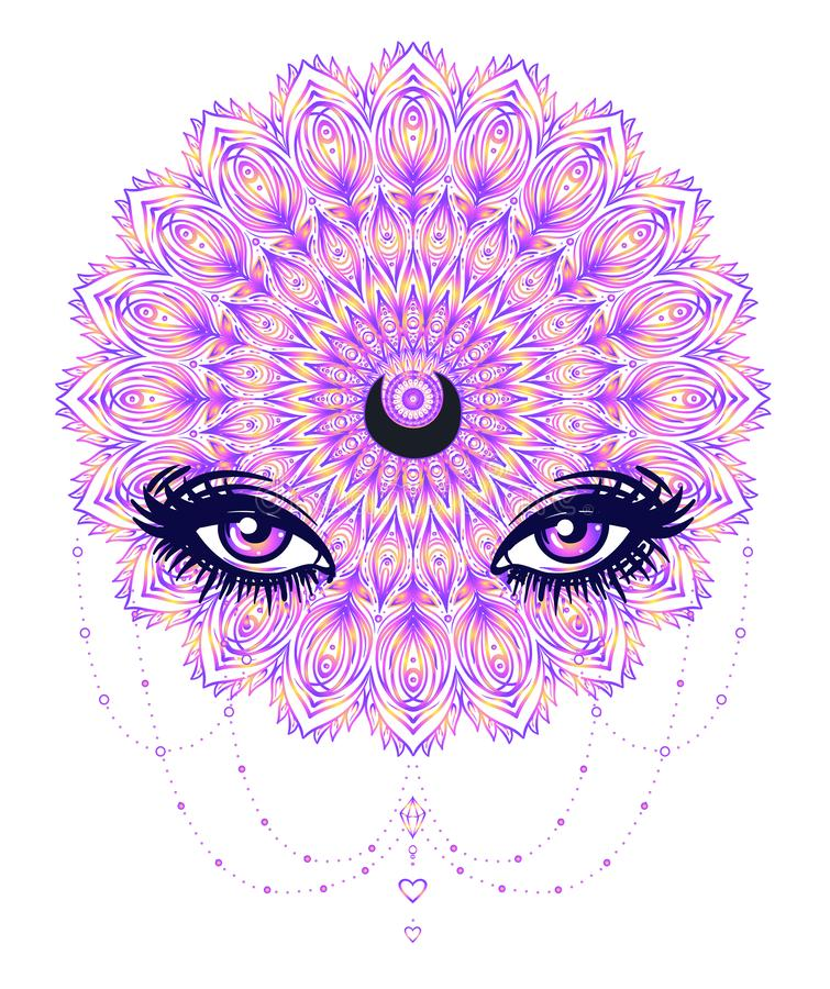Vector ornamental Lotus flower, all-seeing eye, patterned Indian royalty free illustration
