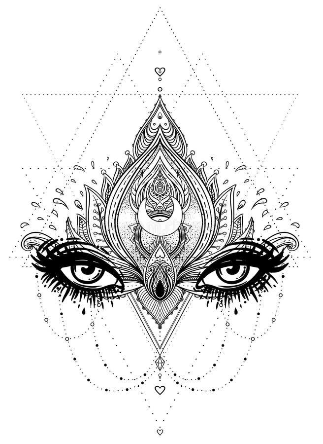 Vector ornamental Lotus flower, all-seeing eye, patterned Indian stock illustration