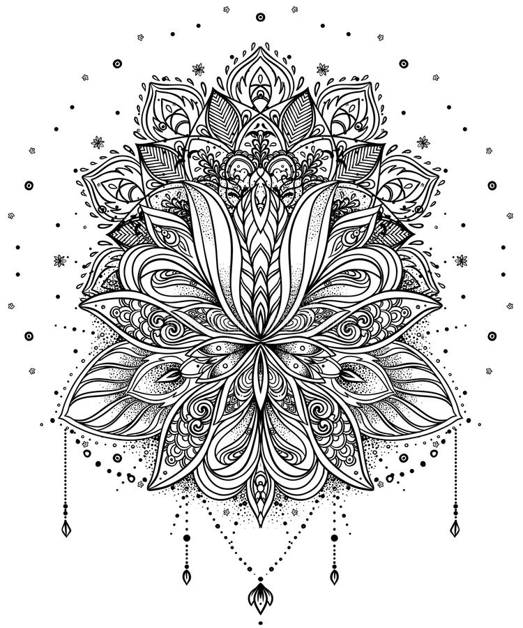 Vector ornamental Lotus flower, ethnic art, patterned Indian paisley. Hand drawn illustration. Invitation element. Tattoo, astrology, alchemy, boho and magic royalty free illustration