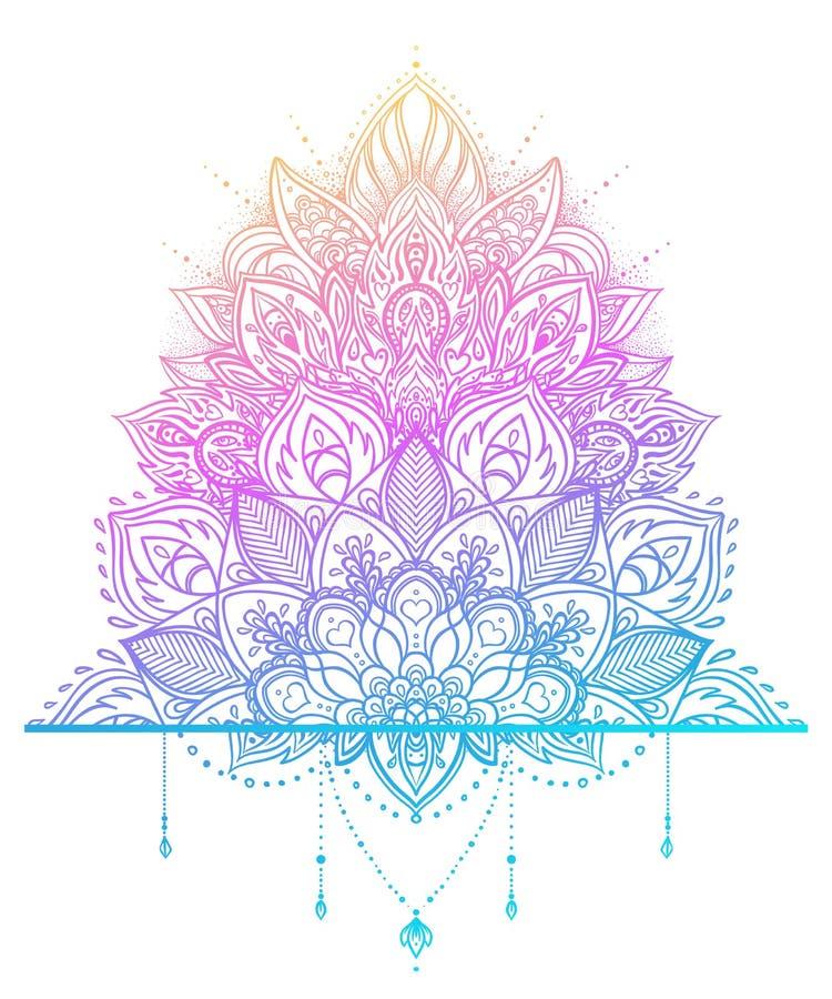 Vector ornamental Lotus flower, ethnic art, patterned Indian paisley. Hand drawn illustration. Invitation element. stock illustration