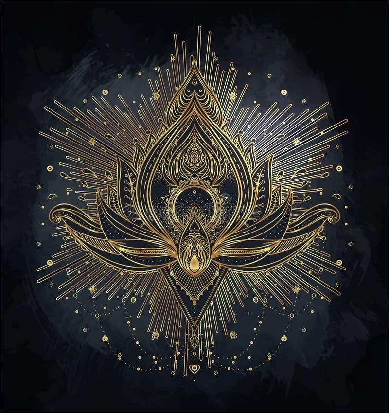 Vector ornamental Lotus flower, ethnic art, patterned Indian paisley. Hand drawn illustration. Invitation element. Tattoo, astrology, alchemy, boho and magic royalty free illustration