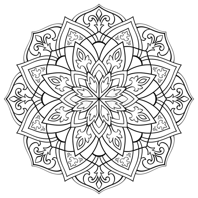 Vector ornamental mandala. Vector contour mandala on a white background. Oriental ornament. Round element for design. Sketch for tattoo. Template for coloring stock illustration