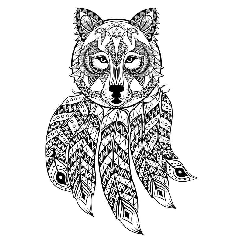 Vector ornamental Wolf with dreamcatcher, ethnic zentangled. Mascot, amulet, mask of werewolf, patterned animal for adult anti stress coloring pages. Hand drawn vector illustration
